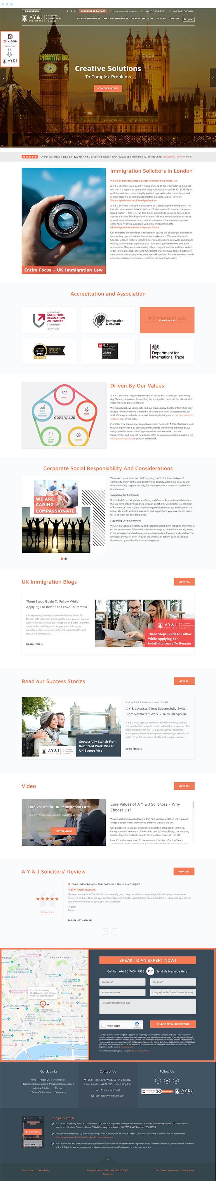 AYJ Solicitors Mockup homepage