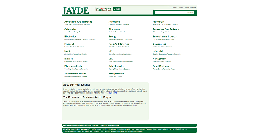 Jayde: B2B Directory with enormous list of Businesses