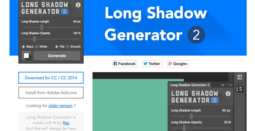 Long Shadow Generator - Photoshop Plugin
