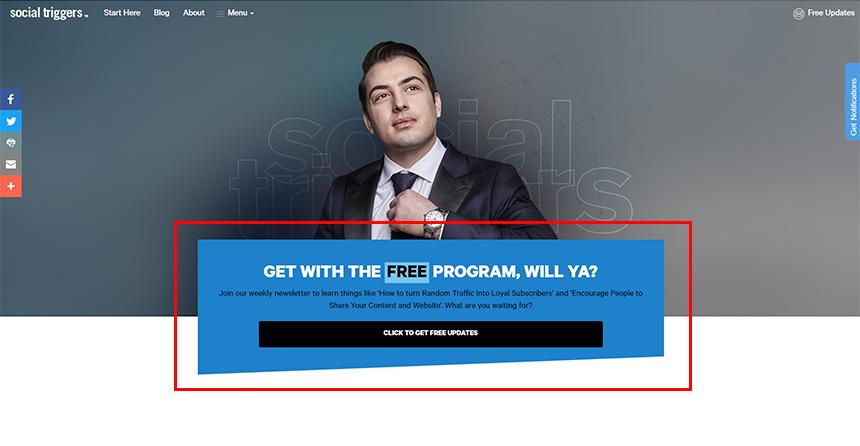 SocialTriggers.com CTA focused footer example