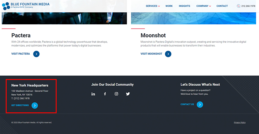 Bluefountain Media - Contact Focused Footer Example