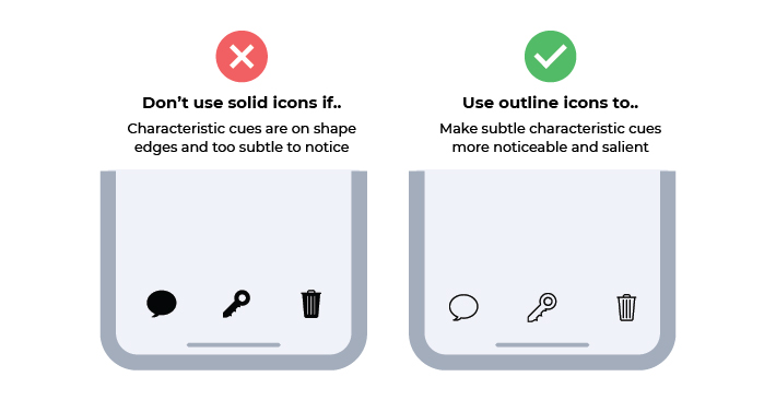 when to use outline icons