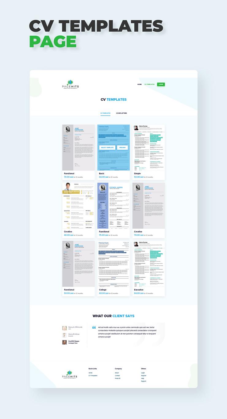 Pagehits CV Page